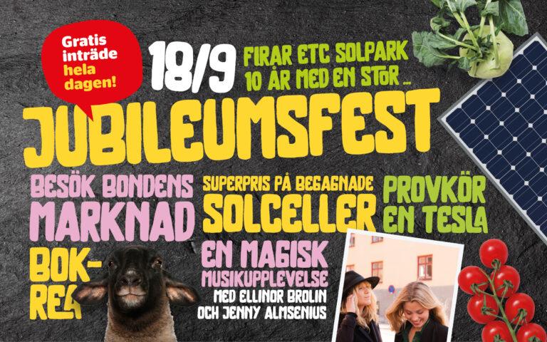 Välkomna på jubileumsfest i ETC Solpark i Katrineholm